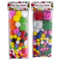 Craft Pom-poms Color & Glitter 2ast 3 Size Poms Per 100pc Pk
