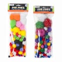 Craft Pom-poms Color & Glitter 2ast 3size Poms Per 100pc Pk Craft Pbh