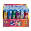Glitter Glue 75ml/2.53oz 24pcpdq 6ast Clrs Toothpaste Tube Shape Bottle W/peg Hanger Craft Lab