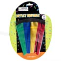 Artist Craft/paint Brush Plastic 24pc Green/blue/yellow/red Mixed Craft Art On Shaped Blister