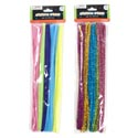 Chenille Stems Pastel 50ct Basic Or 45ct Glitter 12in Pbh 5astclrs Per Bag