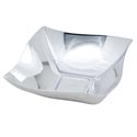 Bowl Silver Plated Square Wave Shape Plastic 7x7in Upc Label 17.7cm X 17.7cm