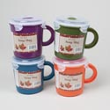 Soup Mug Plastic W/cliplock & Vent 4ast Fallcolors/fall Label 2.94 Cups.23.5 Fl Oz
