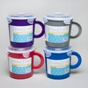 Soup Mug Plastic W/cliplock & Vent 4ast Colors/label 2.94cups/23.5 Fl Oz