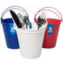 Bucket 2pk Plastic W/handle 5.1x4.7in Red/wht/blue Solid Per Pk W/upc Label