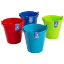 Bucket 2pk Plastic W/handle 5.1x4.7in 4ast Summer Colors/upc Label Solid Colors Per Pk