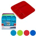 Plastic 5 Section Food Tray Microwave Safe 3ast Colors Red/yellow/blue/clr Easy Peellbl