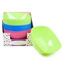 Serving Bowl Square 10x10in 3.875h 3 Colors/36pc Pdq/upc Lbl 105g/green/blue/pink