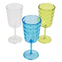 Wine Glass Plastic W/diamond Cut Design Clear/green/blue 7.75inh 94g/12oz/upc Label