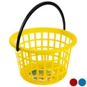 Basket Round W/handle 13.5dia X 8.25in Ast Colors Yellow/red/blue