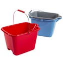 Bucket Plastic W/handle 9.7l/2.5gal Rectangular Shape 3ast Colors Red/blue/grey