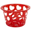Basket Round W/heart Cutouts Plastic Red/white 11.75dx7.25inh Color Label