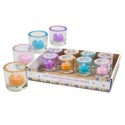 Candle Holder Glass W/glitter Tealight & Glitter Rim 4ast Spring Colors In 12pc Pdq Upc