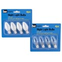 Night Light Replacement Bulbs 4pk 120v-4w White/clear On 12pc Mdsg Strip Blstcard/be Brightart