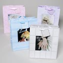 Gift Bag Wedding Large W/photo Inset & Satin Handle 4asst 12pc Inner Polybag 12x10x5 Upc