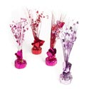 Centerpiece/balloon Weight 14in Heart Tinsel Spray 4ast Colors Valentine Label