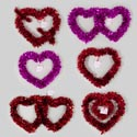 Tinsel Heart Hanging Decor 4asst Red Or Pink Gov Valentine Hangtag