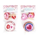 Baking Cup Kit Valentine 48pc Cups/picks 2in 2ast Mdsgstrip