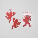 Cupids Hanging 2pk Red Glittered 8.6 X 6.6in 2asst Val Pbh