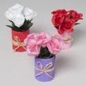 Flower Pot 7in W/roses 3ast Red/pink/white W/corrugated Base Valentine Hangtag