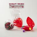 Heart Candy Container 2pk Jumbo Red Or Clear W/bow Valentine Pbh