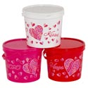 Candy Bucket Plastic Valentine W/lid 3ast Colors 5in Diax4.125h Val Upc Label