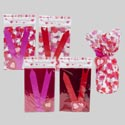 Bag A Basket Cello 2pk Valentine W/pullbows/tags 24pc Mdsg Strip 4asst 2prints/2solids Val Pbh