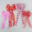 Bow Satin Wired 9&11 Loop Valtn 4asst Heart Prints/2 Sizes Val Tiecard 9x20/10x21