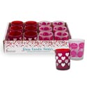 Candle Holder Frosted 2ast Love/ Heart Purple/red Clr In 12pc Pdq Upc Label