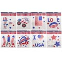 Gel Stickers Patriotic 8 Asst 7.87x7.87 Patriotic Polybag/hdr
