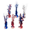 Balloon Weight/tinsel Cntrpiece Patriotic 6styles 12in Ea/hngtag
