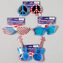 Patriotic Glasses 4asst Peace/guitar/star/screened Patriotic Barbell Card