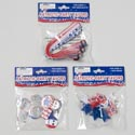 Party Favors Patriotic 3asst 12pk Ring/10pk Button/6 Bracelet Patriotic Polybag Header