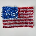 Tinsel Flag Shape Patriotic Hanging Decor 20x13in W/hangtag