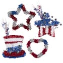 Tinsel Decor Patriotic 4ast 2 Stars/heart/hat W/hangtag