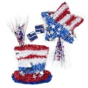 Tinsel Decor Patriotic 2asst Star 12x12/hat 11x10.75in/ht