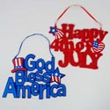Hanging Decor Patriotic Glitter 12x9 Happy 4th/god Bless Hangtag 4mm Cardboard