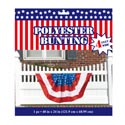 Bunting Patriotic Polyester 4ft Wide X 24in W/3 Metal Grommets Durable/reusable Opp/wrap Card
