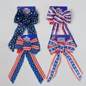 Bow Patriotic Wired Ribbon 5loop 7.87x14.96in 4ast Styles/backer