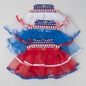 Tutu Patriotic Skirt W/satin Trim 3ast Red/white/blue Solid W.multicolor Trim/header Card