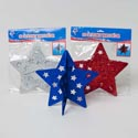 Star Patriotic 3d Table Decor Glittered 2pc Paperboard 3ast Red/white/blue Pbh