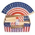 Hand Fan Paper W/usa Flag Print 9in/one Side Print/24pc Pdq Polybag W/label