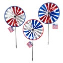 Wind Spinner Fan Patriotic 10in Dia X 20in L 3ast Hologrpic Colors/jhook W/hangtag