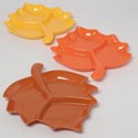 Tray Leaf Shape Divided 3section Orange/brown/burnt Yellow 11.75 X 13.75in Pp Plastic Label
