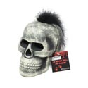 Skull W/feather Mohawk Polyfoam Color Change Led 6x6.75x9 In Gov Halloween Hangtag