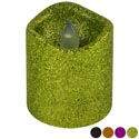 Candle Led Pillar Glittered Flickering Halloween 2.7 X 3in 4ast Colors/12pc Pdq Hal Ht