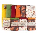 Kitchen Textile Fall Microfbr** **2pk Dishcloth/1pc Towel Harvest Ht/jhook & Wrap Card