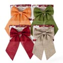 Bow Harvest Linen 4-loop 4asst Colors 6 X 11.5 In Harvest Tie On Card