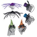 Headband Deluxe 3 Asst Styles Spider/witch/top Hat Minis 2 Clrs Ea/ht/jhook/barbell Card