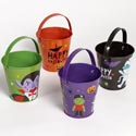 Pail Metal Halloween Small Round 4in H/4ast Designs W/handle/ht